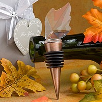 Crystal leaf topped copper metal bottle stopper