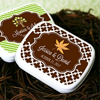 Personalized mint tins with fall themed labels