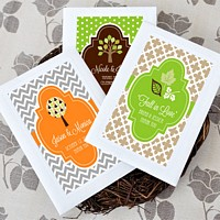 Personalized wildflower seed favors with fall labels