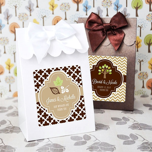 Party Favor Ideas For Wedding Reception: 12 Pc. Personalized Fall Theme 6 X 4 Candy Favor Boxes Set
