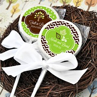 Personalized strawberry flavored lollipop favors with fall labels