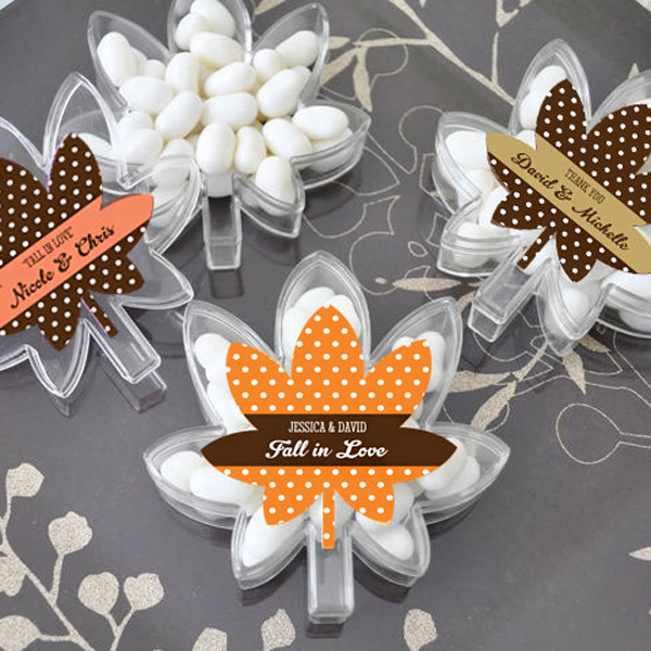 Personalized leaf shaped acrylic candy boxes with sticker label