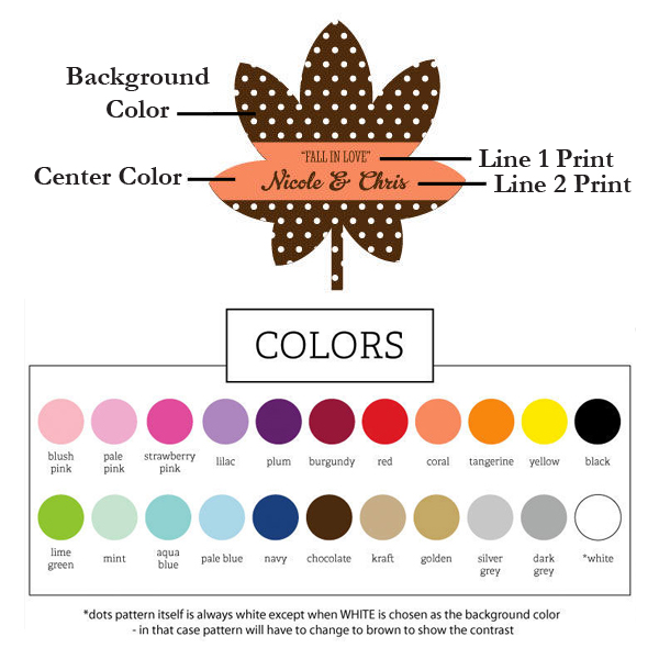 Color options and personalization diagram for fall acrylic leaf favor boxes