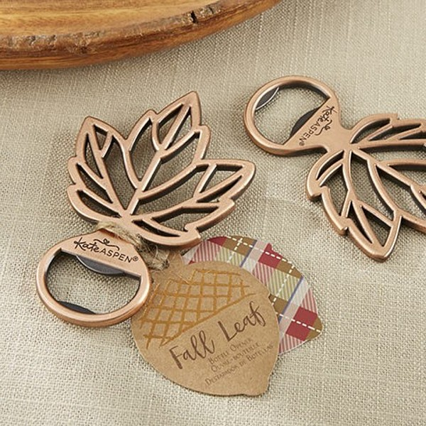 Copper finish fall maple leaf bottle cap openers with acorn favor tag