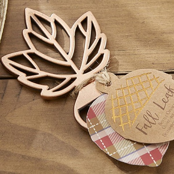 Copper fall maple leaf bottle opener with acorn favor tag closeup