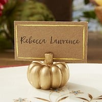Metallic gold pumpkin place card holder with included blank gold border Kraft place card