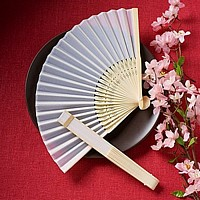 White silk hand fan with wooden handle