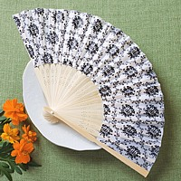 White silk hand fan with black design print and wooden frame