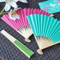 Paper hand fans in blossom, aqua blue, and green