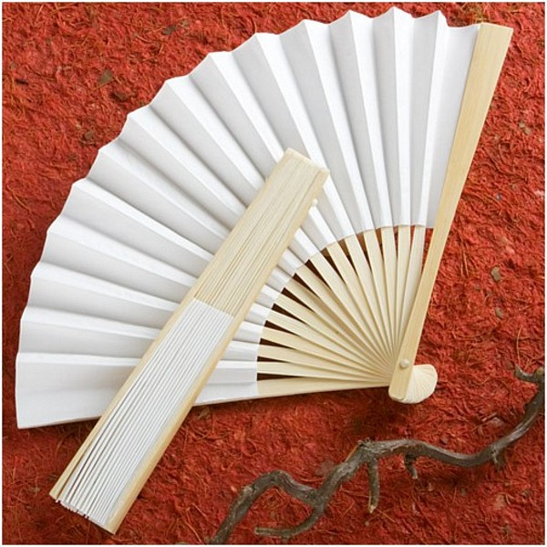White paper hand fan with light wood finish and collapsible ribbing