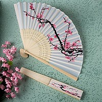 White silk hand fan with cherry blossoms design on sandalwood frame