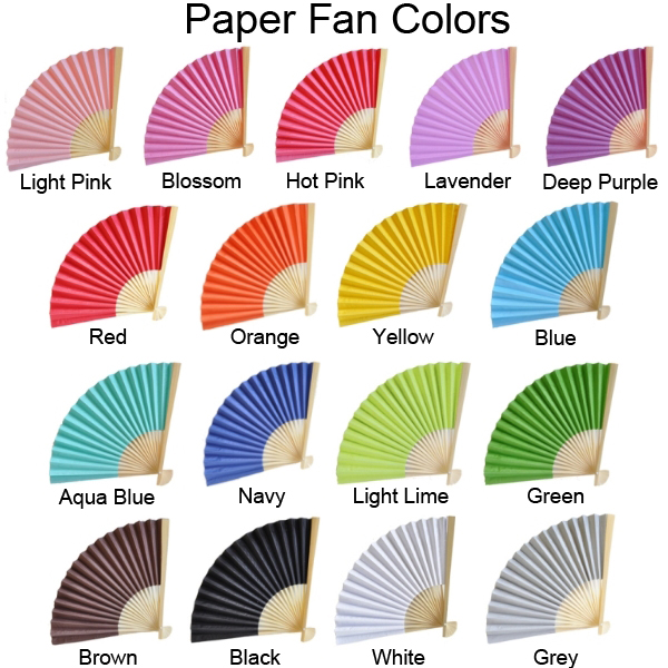 Paper hand fans in 17 assorted color options