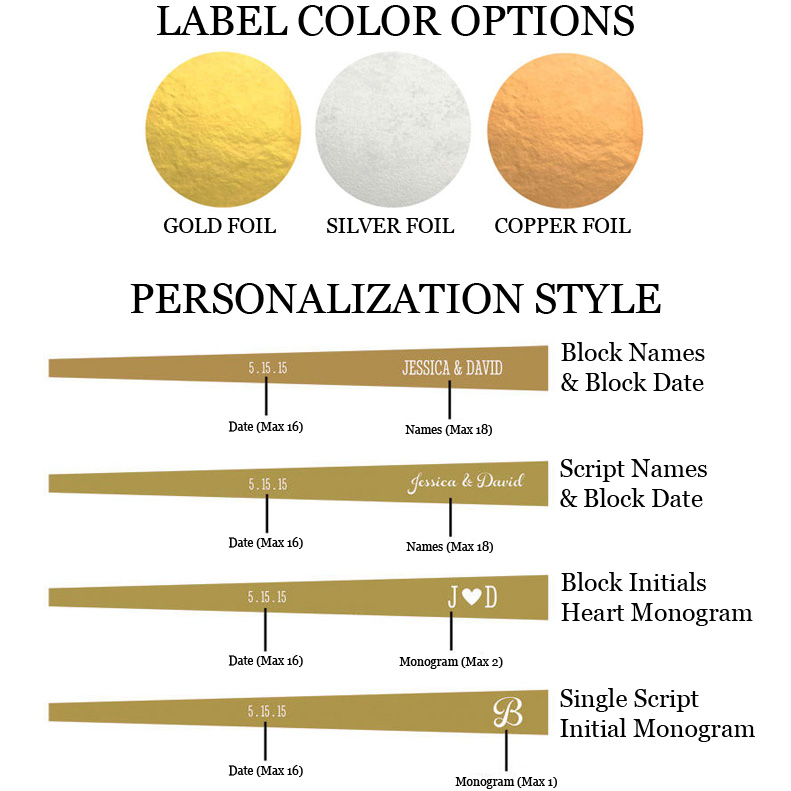 Choose from 3 label colors with white imprint and several text and monogram personalization options