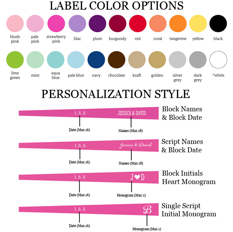 Choose from 22 label colors and several text and monogram personalization options