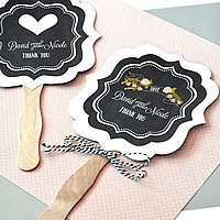 Personalized chalkboard hand fans with wooden paddle handle and wedding designs