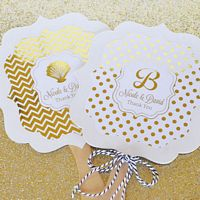 Personalized hand fan wedding favors