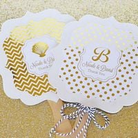Paddle hand fan favors with personalized metallic foil labels custom printed with design and text
