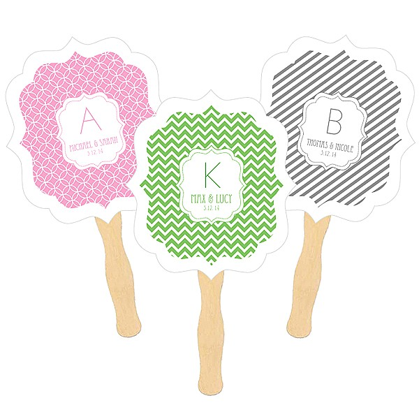 Personalized hand fans with wooden paddle handle and modern monogram design