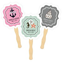Personalized hand fans with wooden paddle handle and wedding designs