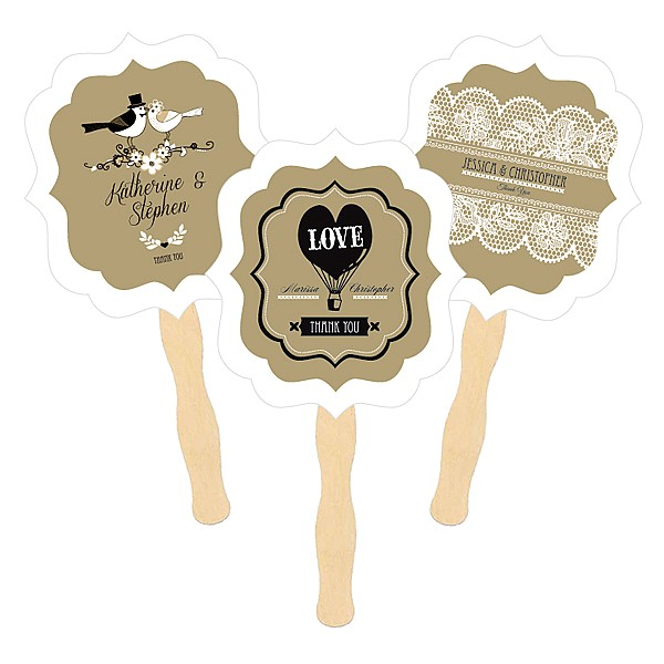 Vintage rustic wedding designs on wedding hand fans with wooden paddle