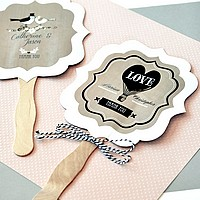 Vintage hand fans personalized with names, wedding date, and designs