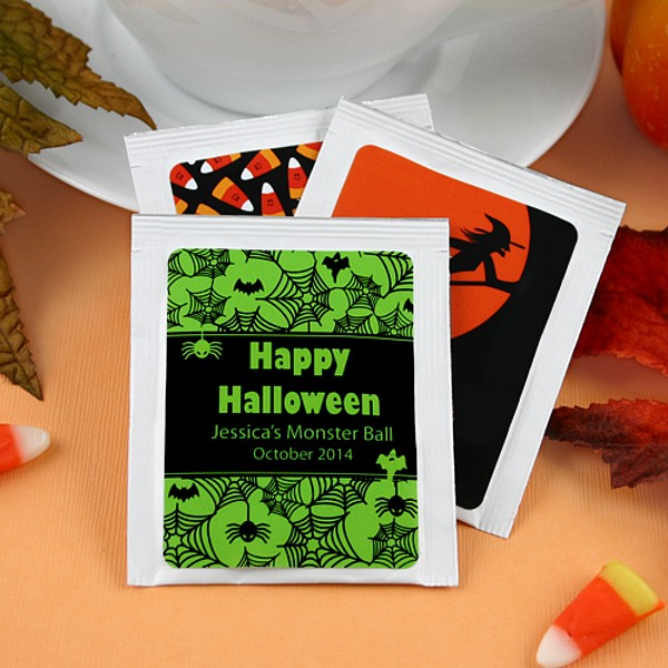 Personalized Halloween themed tea packets