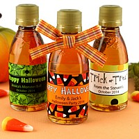 Personalized Halloween themed maple syrup favors