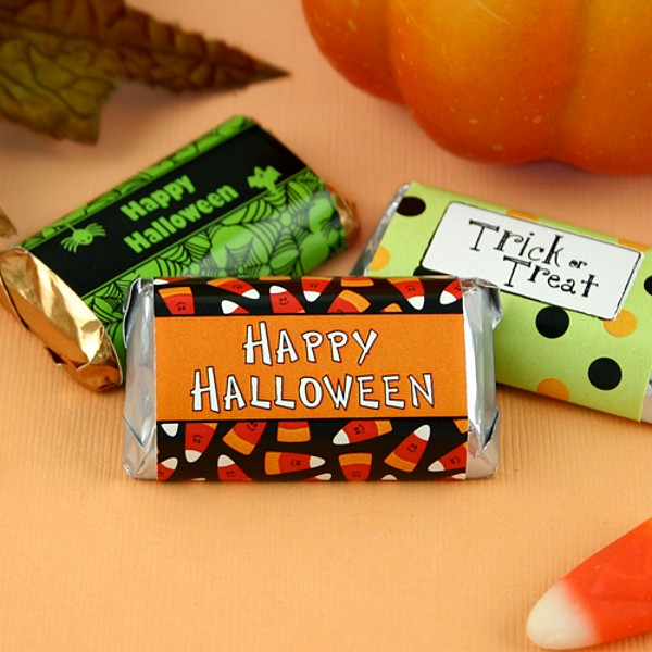 Personalized Halloween themed miniature candy bar wrappers