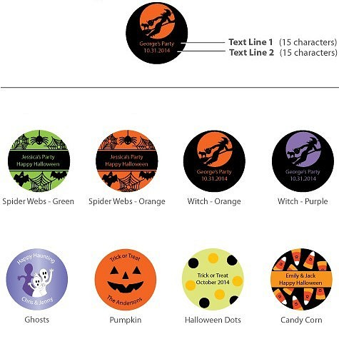 Halloween YORK Peppermint Patty favors are available in choice of 8 personalized Halloween label designs