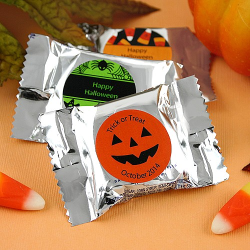 Prepackaged YORK Peppermint Patty favors with personalized Halloween labels