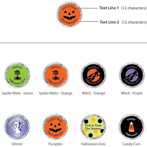 Personalized Halloween Hershey??s Reeses? Cups available in choice of 8 Halloween designs