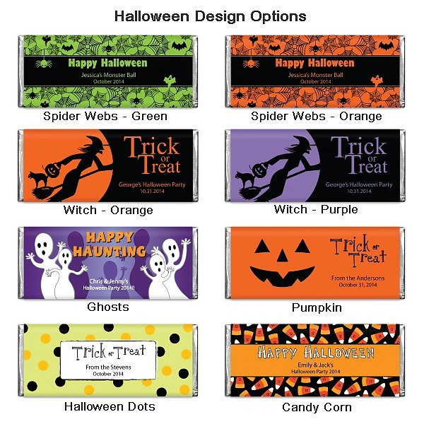 Hershey??s 1.55 oz chocolate bars are available in choice of 8 Halloween designs