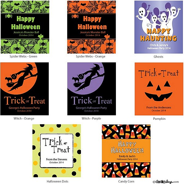8 Halloween designs available to personalized Halloween minit tote favors