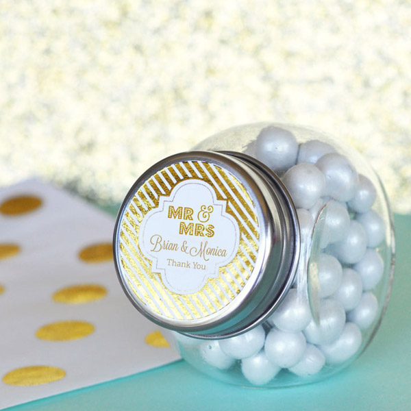 Personalized metallic foil mini wedding candy jars
