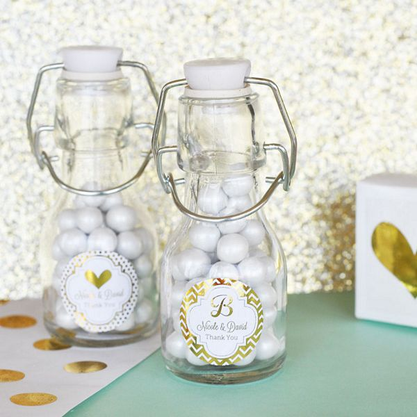 Mini glass bottle favors with personalized metallic foil labels custom printed with design and text