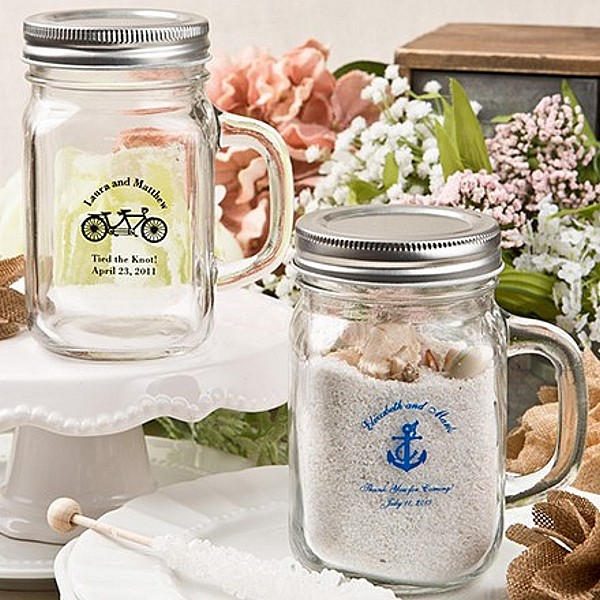 12 Ounce clear glass favor mason jar mugs personalized with wedding design and 2 lines of custom print