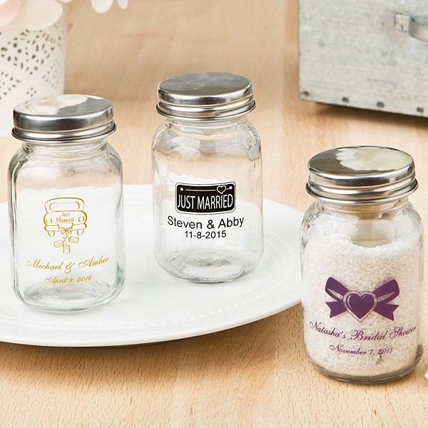 3.5 Ounce clear glass mason jars personalized with wedding design and 2 lines of custom print