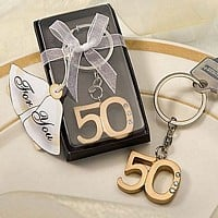 50th anniversary gold key chain favors with clear gift box and sheer organza ribbon and bow
