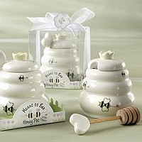 Ceramic honey pot with wooden honey dipper in decorative gift box