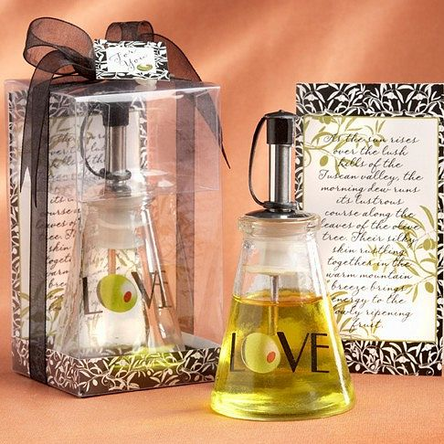 Olive oil bottle in clear top favor box with ribbon, tag, and signature verse card