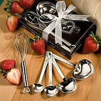 Stainless steel heart design wisk and four heart shaped measuring spoons with hanging ring
