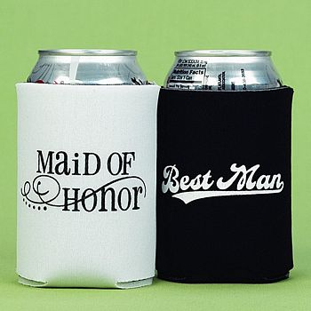 Maid of Honor and Best Man Can Coolers - Set of 2