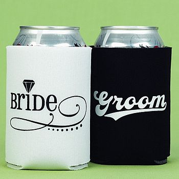 Bride And Groom Collapsible Neoprene Wedding Koozie Set