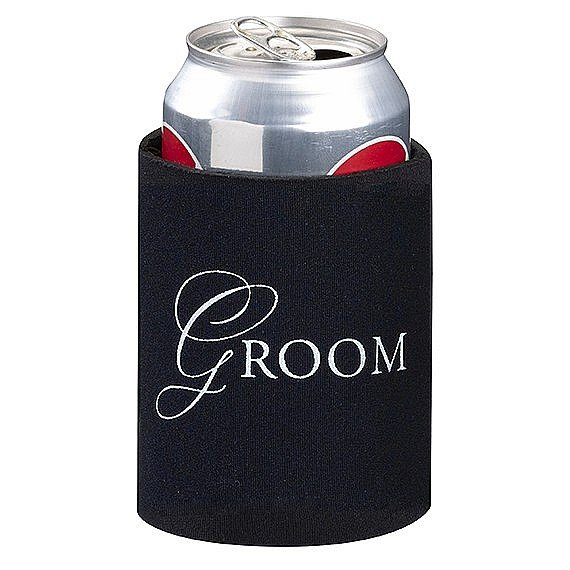 Groom Black Neoprene Collapsible Wedding Koozie