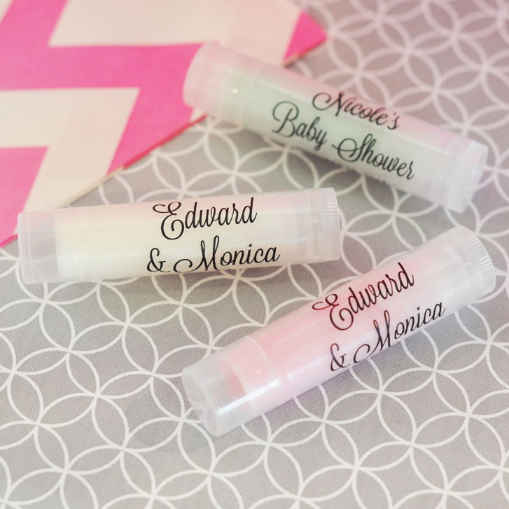 Personalized Wedding Lip Balm Tubes with Clear Labels