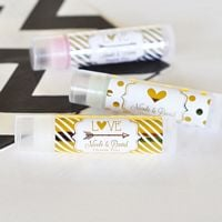 Lip balm favors with personalized metallic foil labels custom printed with design and text