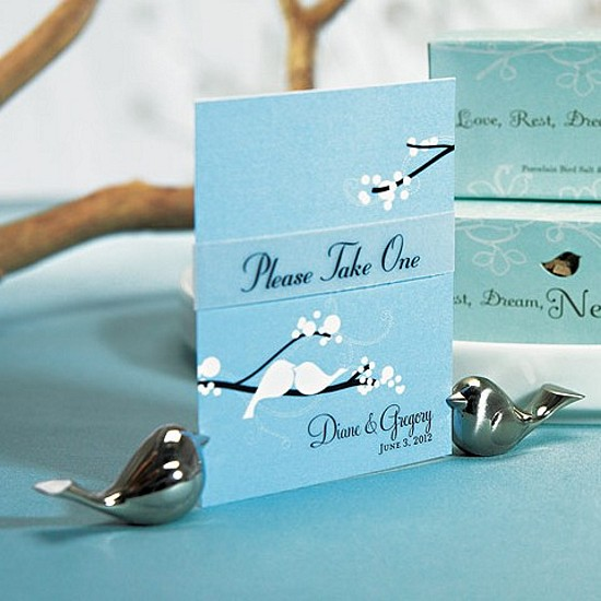 Brushed Silver Lovebird Card Holders