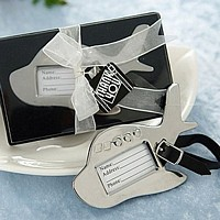 Chrome metal airplane shaped luggage tag with showcase gift box