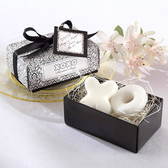 Hugs and Kisses from Mr and Mrs scented soap favors with black and white gift box