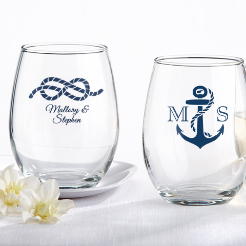 Nautical Theme Personalized 9 Oz Stemless Wine Glass Favors